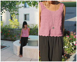 Sneha Bee - Knittopia Pink Knit Top, Forever 21 Polka Dot Trousers, Urban Outfitters Spin Necklace - Mauve turfs