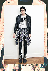 "K r i s K i d d - Thrift Leather Moto Jacket, Thrift Plaid Flannel, American Apparel Black Jeans, Doc Marten Boots, Blackscore ""In Retrospect"" Tee - In Retrospect..."