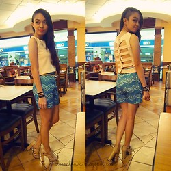 Em Trava ♥ - Self Made Plain Cutout Cropped Top, Self Made Lace Print High Waisted Shorts, Local Accessories Store Jewelry, Forever 21 Gold Belt, Céline Nude Caged Heels - Lace print and cutouts