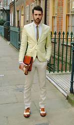 Adrian Cano - Yellow Blazer, White Trousers, Bi Colour Brogues - Day of Yellows