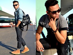 Paul Ramos - Aeo Matte Finish Wayfarers, H&M Polo Shirt, Aeo Faded Denim Jacket, Aeo Indigo Washed Skinny, H&M Suede Desert Boots, Splash Bacl Patent Murse, Iconic Stacked Bracelets - Bus Terminal