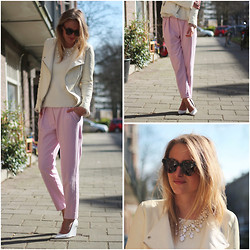 Raspberry & Rouge - Zara Jacket, H&M Sweater, H&M Trousers, H&M Wedges, Karen Walker Sunglasses - PINK & WHITE