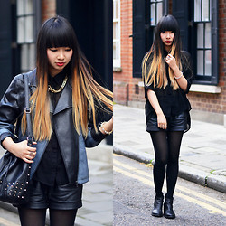 Van Anh L. - Ombre Faux Leather Jacket, Claire's Uk Gold Necklace, New Look Studded Bag, Claire's Uk Bracelet, Urban Outfitters Boots - B stands for Black