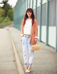 Ivy Xu - Zara Jacket, Zara Top, Garage Denim Pants, Zara Heels, Chanel Purse - Accidentally pastel