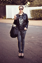 Bruna Treme - Limelight Black Jacket, Motörhead T Shirt, Lost N' Found Black Studded Bag, Blue Steel Pants, Via Uno Heels - .