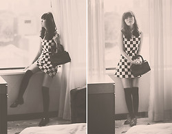 Sonia Eryka - Sheinside Checkered Dress, Glebe Market Vintage Bag, Nine West Black Shoes - Sunday Girl