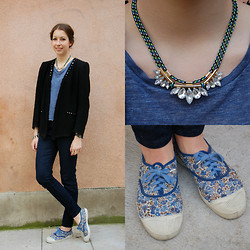 The Camelia - Zara Black Studded Jacket, Zara Blue Tee Shirt, Zara Velvet Dotted Pants, H&M Rhinestones And Rope Necklace, Bensimon Liberty Tennis - Blue