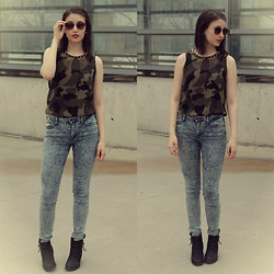 Elina L. - Crocker Acid Wash Jeans, Spiked Camo Top, New Yorker Ankle Boots, Asos Retro Sunglasses - Camo