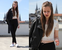 Laura A. - Mango Leather Jacket, Topshop Lace Crop Top, Topshop Disco Pants, Vans Slip On's - Oh my, we're so young