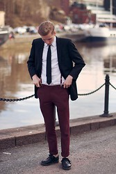 Eepu V - Topman Trousers, Dr. Martens Shoes - Ron Burgundy