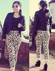 Christine Dior (Discover Fashion Author) - Oasis Biker Jacket - Dalmatian trousers