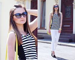 Katarzyna Tarach - Reserved Dress, Reserved Pants, Stradivarius Loafers - Neon stripes.