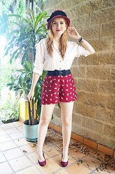 Marie McGrath - Forever 21 Beige Blouse, Forever 21 Kitty Shorts - Cute Kitty Shorts