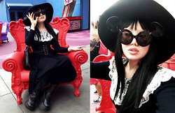 Irene Yuen - Target Black Floppy Hat, Ebay Black Mickey Flip Glasses, Black Peace Now Coffin Styled Chain Shoulder Bag, Demonia Dynamite 03, Gunne Sax Black Cotton Dress W/ Lace Collar - I, myself, am strange and unusual