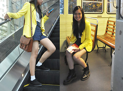 Erika R. - Zara Yellow Blazer, Forever 21 White V Neck, Navy Blue High Waist Shorts, H&M Brown Satchel, Dr. Martens Black 1460, Topshop Suede Loafers - The Tourist