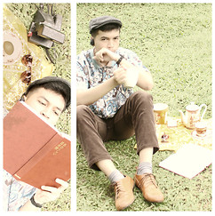 Dimszk Stywn - Simple Life Pattern Shirt, Burberry Brown Corduroy, Bembibloop Oxford Shoes - Essensimo