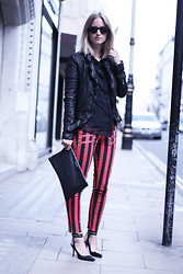 THEFASHIONGUITAR - - Ray Ban Sunglasses, Muubaa Jacket, Paige Jeans, Givenchy Clutch, H&M Shirt, Zara Heels - The ultimate stripe