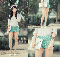 Isabel Z - Urban Outfitters Floral Crown, Chic Wish Mint Crochet Shorts, Dorothy Perkins Glitter Scallop Clutch - Rose from the ashes