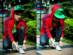 Poldo Napitupulu - 347 Mustache Cap, Adidas Hoodie Jacket - RED VS GREEN