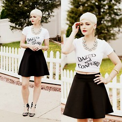 Samii Ryan - Jawbreaking Top, Forever 21 Necklace, By Samii Ryan Ear Cuff, Boohoo Skater Skirt, Boohoo Heels, By Samii Ryan Bangle - Dazed & Confused