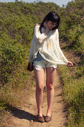 Danielle Payton - Free People Lace Top, My Boyfriend Gold Dipped Necklace, Free People Jean Shorts, Vintage Loafers - Gauzed Haze