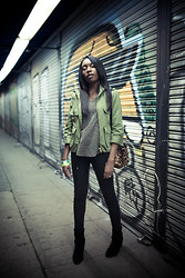 Theresa O. - Smythe Jacket, Isabel Marant Shirt, Siwy Jeans, Ash Footwear Boots, Jerome Dreyfuss Bag - Afterhours