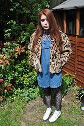 Ellie C - Beyond Retro Leopard Jacket, Beyond Retro Dungarees, Vintage Boots, Beyond Retro Shirt - Head down to toes a reaction to you