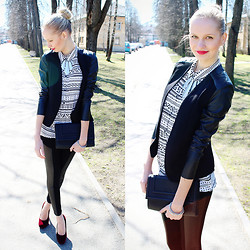 Madara L - H&M Black Jacket, Cubus Silver Necklace, H&M Tribal Print Blouse, Ebay Black Faux Leather Leggings - Red lips & leather