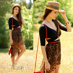 Jessica R. - Gap Sparkle Fedora, Nasty Gal Black Crop Top, Oohlaluxe Leopard High Low Skirt, Cut N Paste Red Fringe Bag - As We Walked in Fields of Gold