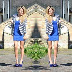 Eleonora Petrella - H&M Striped Blazer, Asos Dress - Electric blue