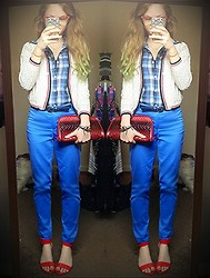 Ravyn Alyxandra - Thrift Cardigan, Thrift Flannel, Forever 21 Blue Pants, Prabal Gurung Red Wedges, Vittorio Ombre Clutch - Electric Blue