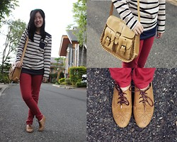 Bernice Angelica Sy - In & Out Striped Top, Thrifted Maroon Jeans, Brown Bag, Oxfords - Cozy