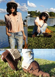 Priscila Diniz - Colcci Pink Blouse, Colcci Embroided Pants, Colcci Flufy Boots !, Colcci Brown Bag - Colcci Dream