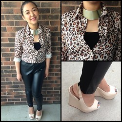 Iza Fugen - H&M Choker, H&M Top, Forever 21 Tee, Zara Leather Pants, Call It Spring Wedges - Cheetah