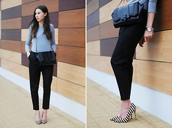 Patrycja R -  - LOOSE LEATHER TROUSERS + STRIPE HEELS