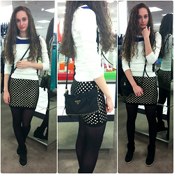 Pauline - Forever 21 Color Block Sweater, Forever 21 Studded Skirt, Prada Bag, Steve Madden Wedge Sneakers - Sporty Studs