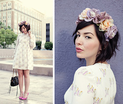 Keiko Lynn - Family Affairs Babydoll Dress, As All Get Out Flower Crown, J. Crew Mona Pumps, Rebecca Minkoff Swing Bag - Flower Crowns and Family Affairs