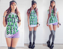 Amy Valentine - Drop Dead Fuun Koneko Beanie, Drop Dead Eat Shit And Tee, Aoko Ny Spike Necklace, Urban Outfitters Lilac Shorts, River Island Thigh Socks, Jeffrey Campbell Spiked Coltrane Boots - WE'LL STAY GOLD FOREVER