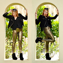 Halina Myers - Prada Sunglasses, Forever 21 Jacket, Romwe Shirt, Black Milk Clothing Leggings - BLACK & GOLD