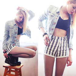 Nesairah Nesstyle - Choies Shorts - STRIPES & CROP TOP