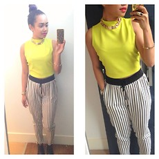Husty Fuentes - River Island Neon Cropped Top, Dorothy Perkins Stripes Trousers - Lemon head (: