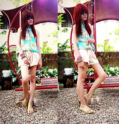 R.A. Basilan - Thrifted Floral Top, Ai Fashion Skorts, Ai Fashion Arm Party, The Landmark Sandals - Going Home ♥♥