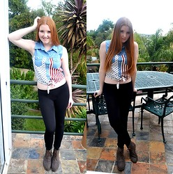 Gabi Gold - The Lot Usa Denim Shirt, Leggings, Lace Up Boots - American Denim