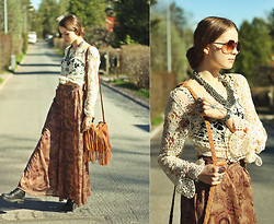 Elina I - Zara Crochet Shirt, Thrift Shop Palazzo Pants, Chic Wish Fringe Bag, Vagabond Combat Boots, H&M Sunglasses, Motel Rocks Velvet Bustier - It's too late