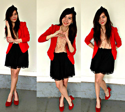 Maricris Lucero - Forever 21 Black Lace Skirt, Forever 21 Nude Lace Top, A'gaci Red Blazer, Red Heels - Lovely red