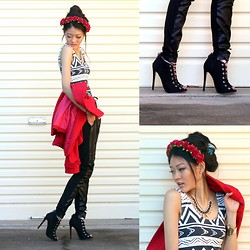Bam It's Joanne - Bella Rowz Crowns Floral Crown, Tony Bianco Peep Toe Lace Up Boots, Show Pony Fashion Coat, Minkpink Bodysuit, The Accessory Store Necklace, Sportsgirl Leather Joggers, From St Xavier Cuff - The Nobody
