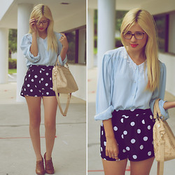 Jessi A - Forever 21 Polka Dot Shorts, Thrifted Blue Blouse - I can see clearly now..