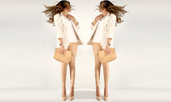 Chic Adventure It! By Giha - Forever 21 Blazer, Leather Pants, Nine West Nude Shoes, Marc By Jacobs Purse - Over the skin