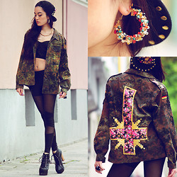 Alessandra Kamaile - Pretty Little Things Cap, Bijoux Brigitte Piercing, Sheinside Leggings, Pink Accesssories Earrings, Alessandra Kamaile Inverted Cross Army Jacket, Darth Vader Ring, Claires Necklace, Vintage From My Mom Top - THIS IS THE NEW SH*T.