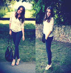 Clara TRV - Vero Moda Lace Top, Zara Bottom, Mango Heels - Bonsoir !